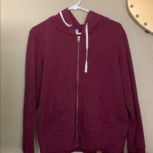 Maroon v- neck zip up hoodie